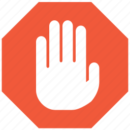abort signal, cancel, danger, error, forbidden, stop hand, terminate icon