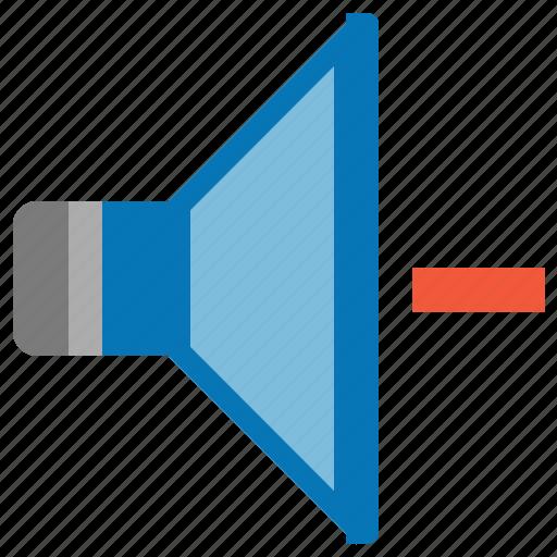arrow, audio, down, level, music, reduce sound, speaker, volume icon
