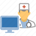 computer, computer doctor, doctor, dr, health, hospital, medicine, monitor, nurse, screen, watson icon