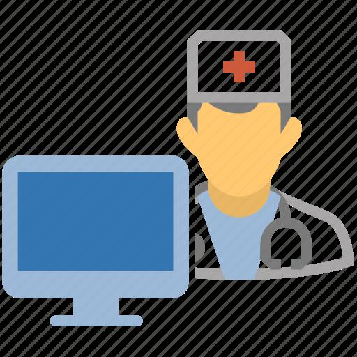 computer, computer doctor, doctor, dr, health, hospital, medicine, monitor, nurse, screen, watson icon