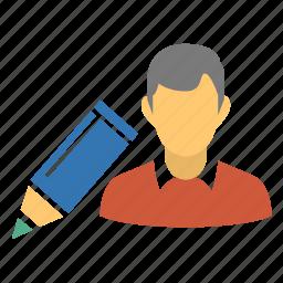 edit, edit account, edit data, edit person, edit profile, edit user, editor, male, modify account, modify data, modify profile, modify user, user, write, writer icon