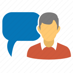 about profile, about user, blogger, bubble, chat, comment, man, message, personal blog, profile, user, user hint, user info, user message icon