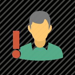alarm, alert, black list, blacklist, blacklisted, male, man, problem, problem client, problem customer, problem friend, problematic, user, user alert, user danger, user problem, user warning icon