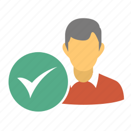 accept, approove, approve, check, checkmark, good, green, male, man, mark, ok, profile, success, tested profile, user, valid, valid profile, validation, yes icon