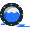 porthole, ship, summer, window icon