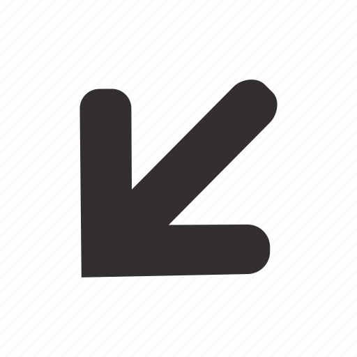 arrow, corner, direction, down, left, navigation, pin icon