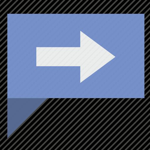 arrow, comment, dialog, next, poi, right icon