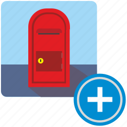 add, create, function, mail, mailbox, post, postbox icon