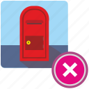 cancel, delete, mail, post, postbox, service, stop icon