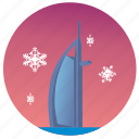 dubai, sky, snowflakes, winter icon
