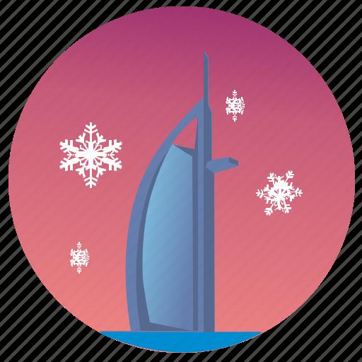 dubai, sky, snowflakes, winter icon