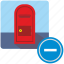 account, cut, erase, mail, post, postbox, service icon