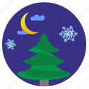 fir, moon, night, snowflakes, winter icon