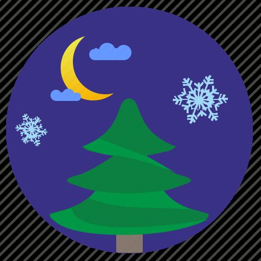 fir, moon, night, snowflakes, winter icon