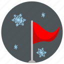 flag, night, sky, snowflakes icon