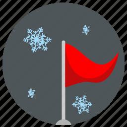 flag, night, sky, snowflakes icon