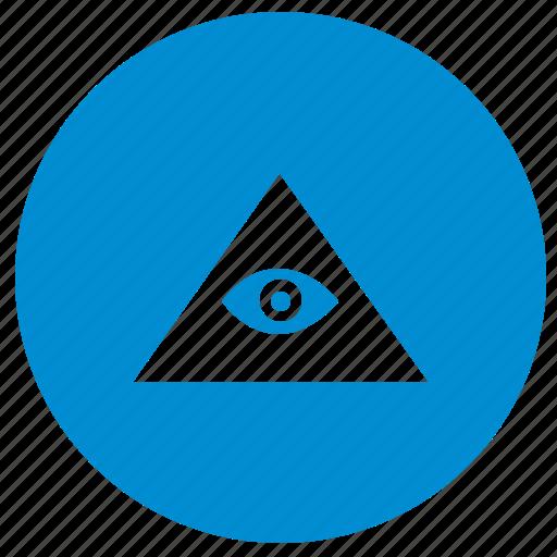 eye, illuminati, pyramid, round icon