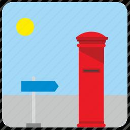 box, mail, pointer, post, postbox, street icon