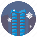 city, night, sky, snowflakes, winter icon