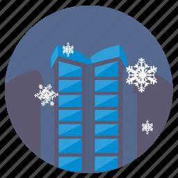 city, night, sky, snowflakes, winter icon