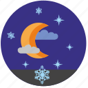 moon, night, sky, snowflakes, star, winter icon