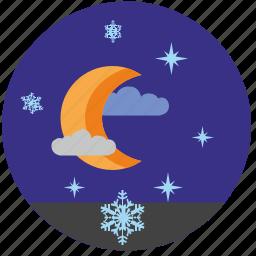moon, night, sky, snowflakes, star, winter icon
