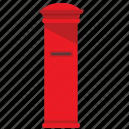 box, mail, mailbox, poi, post, red, street icon