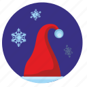 hat, santa, snowflakes, winter icon