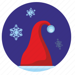 hat, santa, snowflakes, winter icon