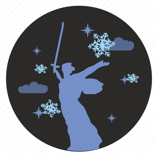 clouds, monument, night, sky, snowflakes, winter icon