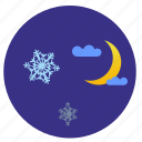 moon, night, sky, snowflakes icon