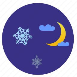 moon, night, sky, snowflakes icon