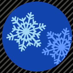nature, round, sky, snowflakes, winter icon
