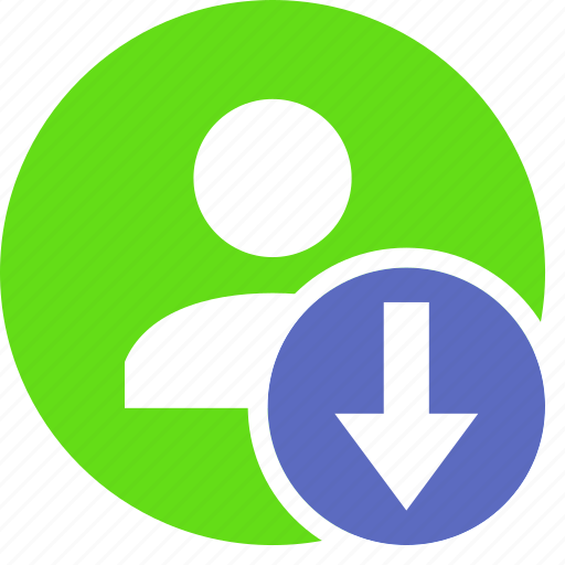 down, download, human, people, person, user icon