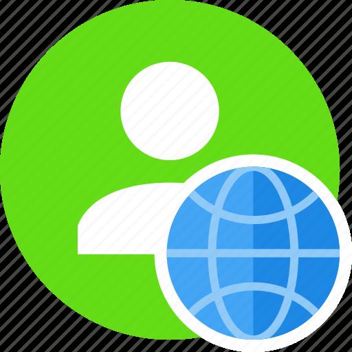 globe, human, people, person, user, web icon
