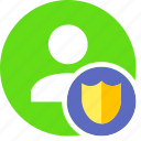 human, people, person, secure, shield, user icon