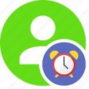 alarm, history, human, people, person, time, user icon