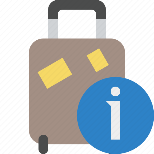 bag, baggage, information, luggage, suitcase, travel, vacation icon