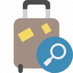 bag, baggage, luggage, search, suitcase, travel, vacation icon