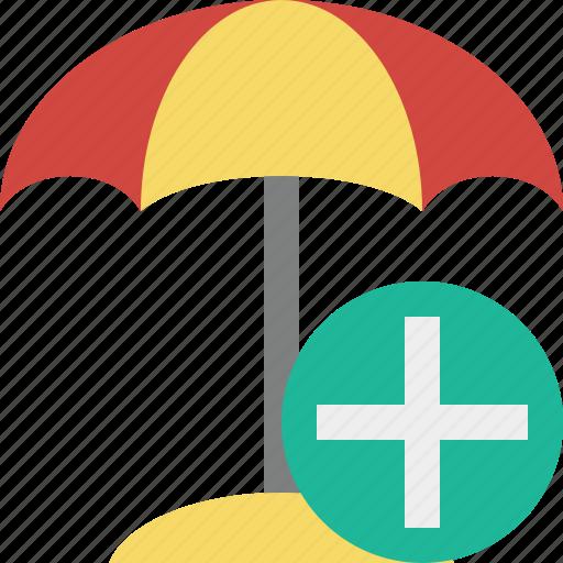 add, beach, summer, sun, travel, umbrella, vacation icon