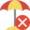 beach, cancel, summer, sun, travel, umbrella, vacation icon