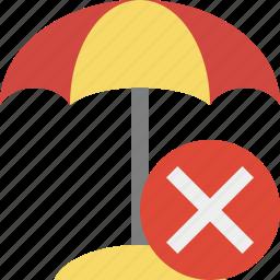 beach, cancel, summer, sun, travel, umbrella, vacation icon