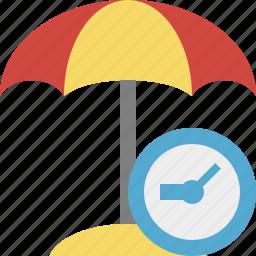 beach, clock, summer, sun, travel, umbrella, vacation icon
