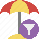 beach, filter, summer, sun, travel, umbrella, vacation icon