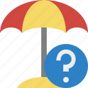 beach, help, summer, sun, travel, umbrella, vacation icon