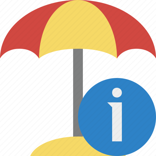 beach, information, summer, sun, travel, umbrella, vacation icon