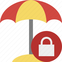 beach, lock, summer, sun, travel, umbrella, vacation icon