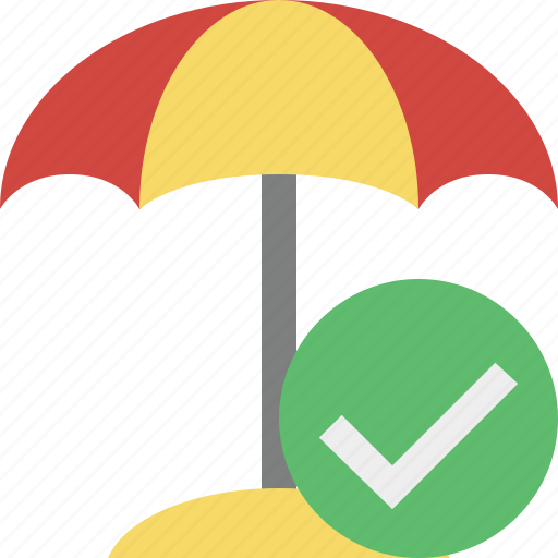 beach, ok, summer, sun, travel, umbrella, vacation icon