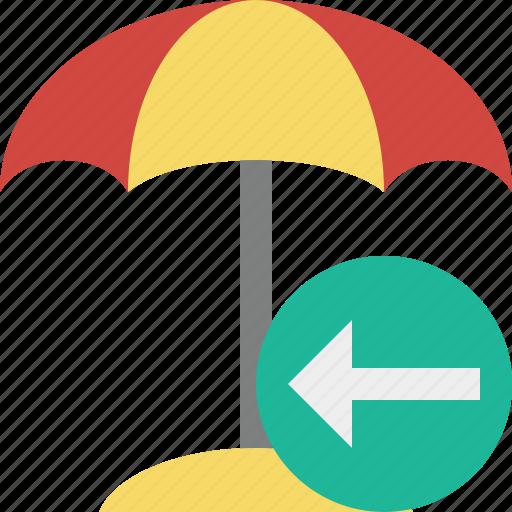 beach, previous, summer, sun, travel, umbrella, vacation icon