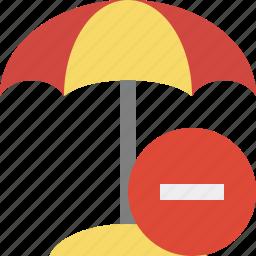 beach, stop, summer, sun, travel, umbrella, vacation icon
